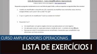 Amplificador Operacional #10 – Lista de Exercícios I